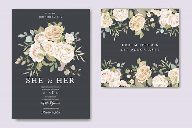 美しい花のテンプレートと招待状