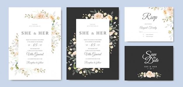 美しい花のフレームの結婚式の招待状