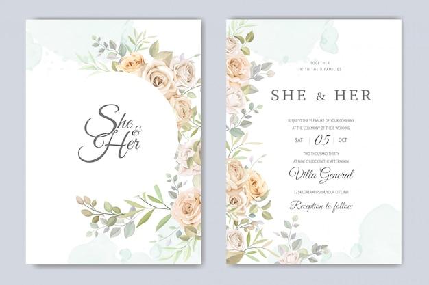 美しい花のフレームの結婚式の招待カードのテンプレート