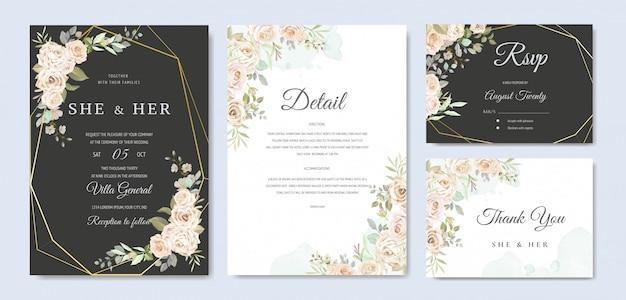 美しい結婚式の招待カードのテンプレート