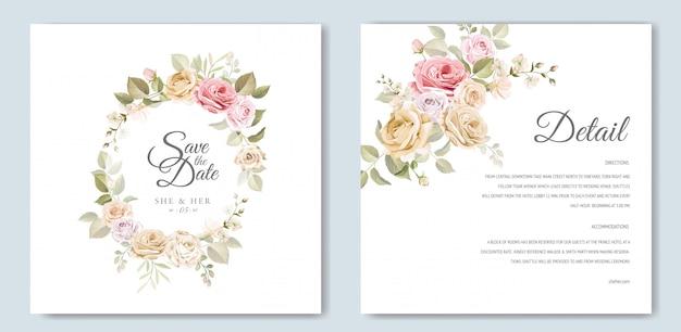 美しい花のテンプレートと結婚式の招待カード