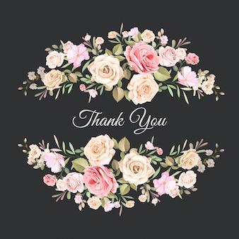 美しい花のテンプレートとの結婚式のお礼状
