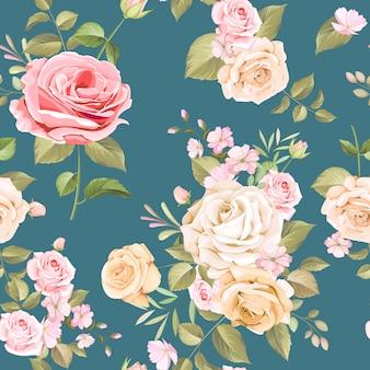 美しいピンクと白のバラのシームレスパターン