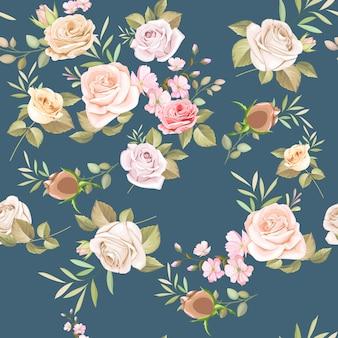 美しい花と葉のシームレスパターン