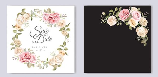 花のテンプレートと美しい結婚式の招待カード