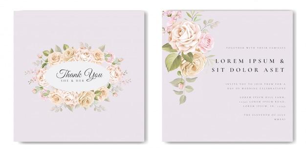 Красивая свадебная открытка с цветочным узором и листьями