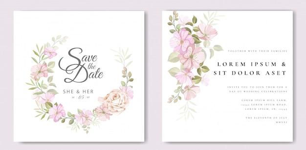 花と葉のテンプレートと美しいウェディングカード