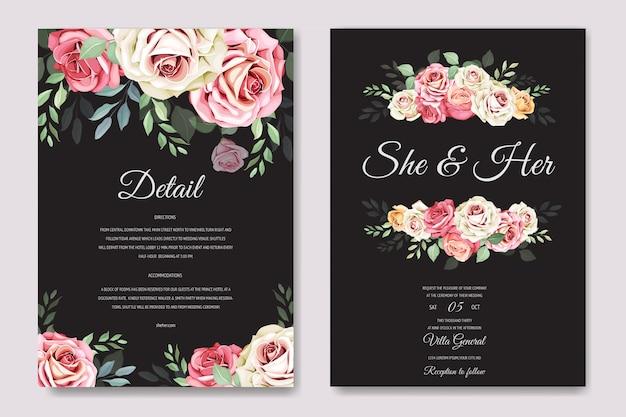 結婚式のカードと美しいバラのテンプレートと招待状