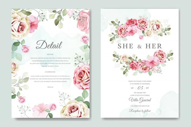 Свадебная открытка и пригласительный билет с красивым розовым шаблоном
