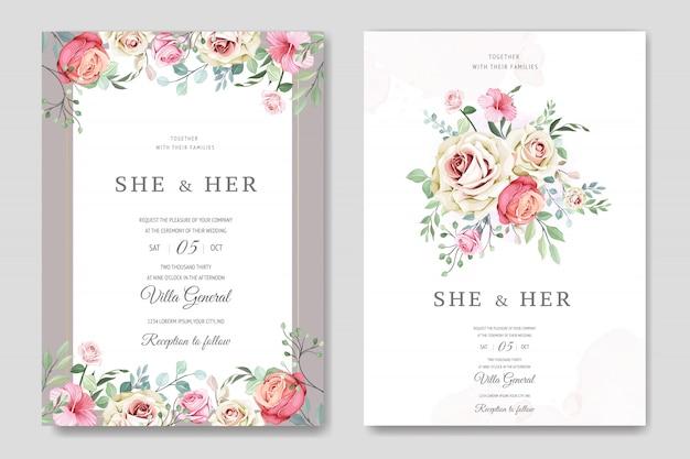 美しい花と葉を持つ美しい結婚式カードテンプレート