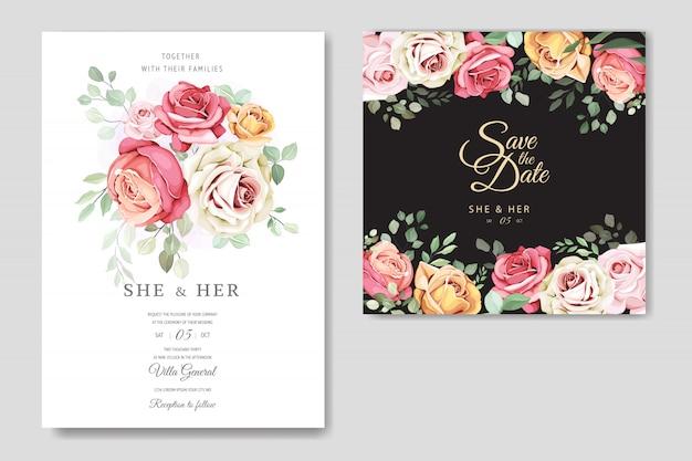 Красивый шаблон свадебной открытки с красивыми цветами и листьями