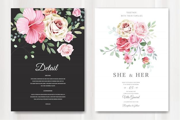 エレガントなバラのテンプレートで美しいウェディングカード