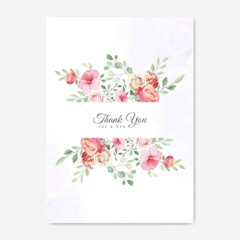 Свадебная открытка с красивым цветочным шаблоном