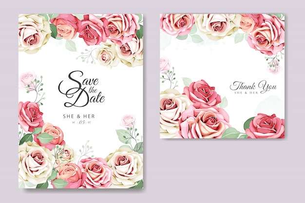 花と葉の招待カードテンプレート