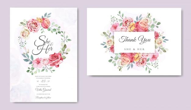 美しい花のテンプレートのウェディングカード