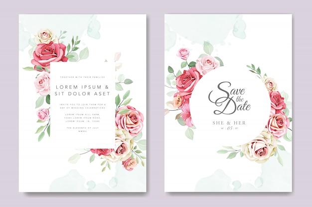 花の花輪を持つ美しい結婚式の招待カード