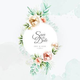 水彩花のフレームとカラフルな結婚式の招待状