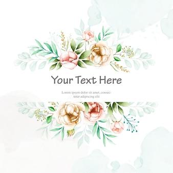 Красочное свадебное приглашение с акварельной цветочной рамкой