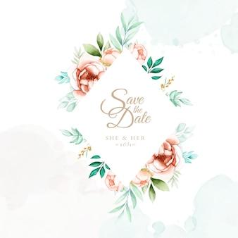 Акварель цветочная рамка свадебное приглашение