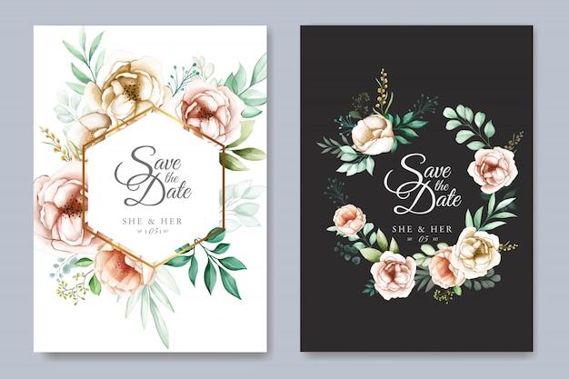 水彩花入り花結婚式招待状カードのテンプレート
