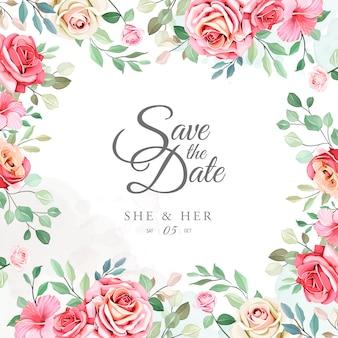 花のフレームの背景を持つかなり結婚式招待状