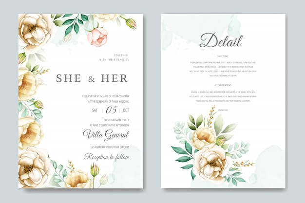 美しい水彩花結婚式カードテンプレート