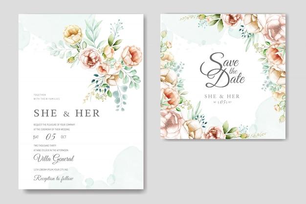 Свадебное приглашение с милыми акварельными цветами