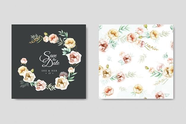 カラフルな水彩花の結婚式の招待カード