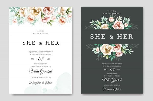カラフルな水彩花の結婚式の招待状のテンプレート