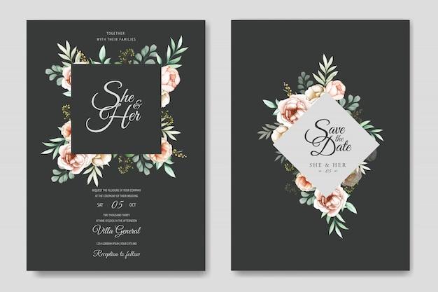 Красочная акварель цветочные свадебные приглашения шаблон
