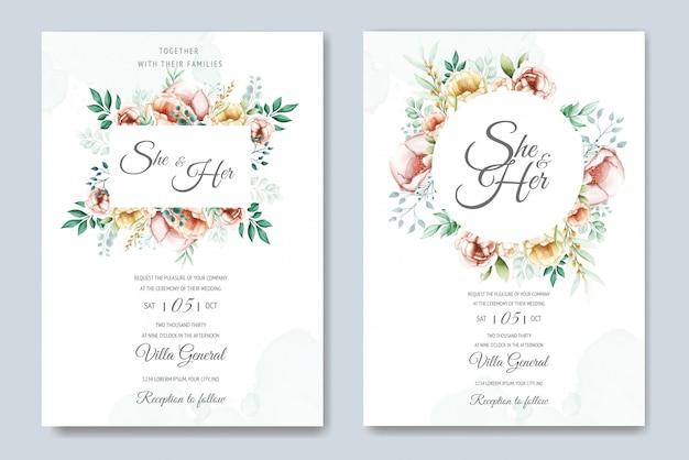 水彩花と葉の結婚式招待状スイート
