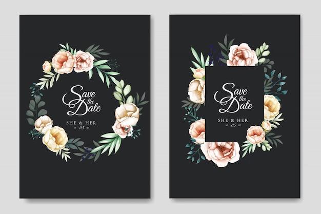 Свадебный пригласительный с акварельными цветами и листьями