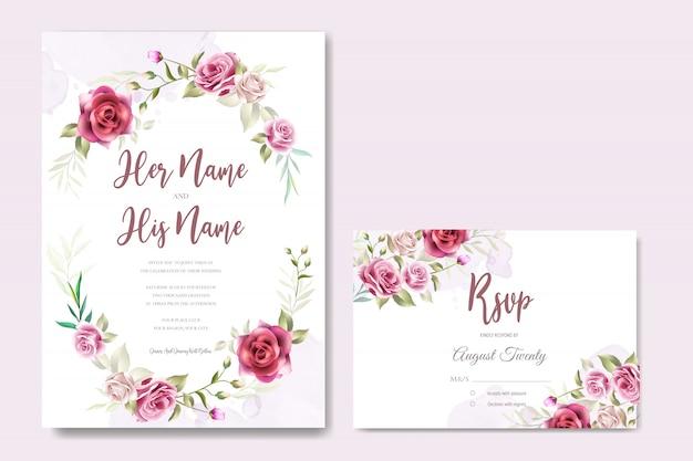 Красивое свадебное приглашение с цветами и листьями