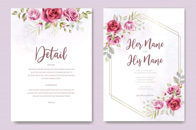 花と葉を持つ美しい結婚式招待状