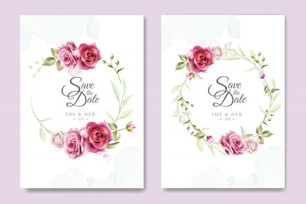 エレガントなバラの結婚式の招待カードのデザイン