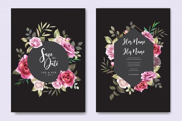 エレガントなバラの結婚式の招待カード