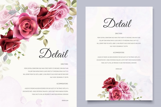 美しい花の結婚式の招待状