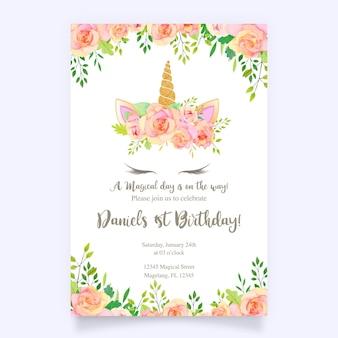 ユニコーンとピンクの花のバースデーカード