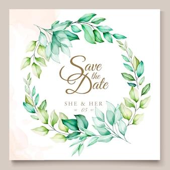 カラフルな緑の花の結婚式の招待カード