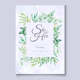 カラフルな緑の花の結婚式の招待カードのテンプレート