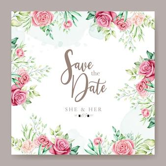 カラフルな花の結婚式の招待カード