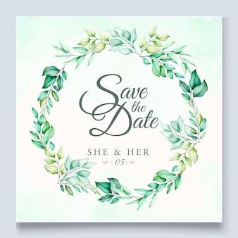カラフルな緑の花の結婚式の招待状