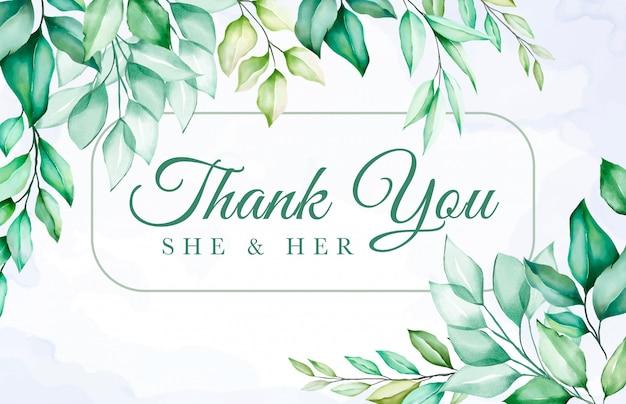 カラフルな緑の花のありがとうカード