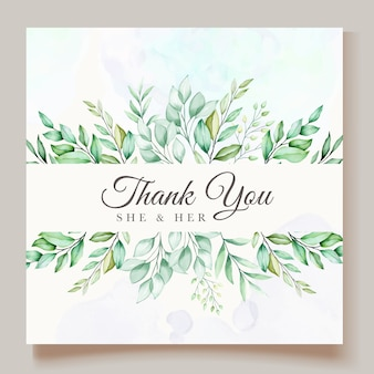 美しい緑水彩葉結婚式カードテンプレート