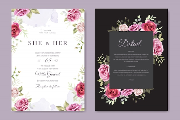 フローラルリース結婚式の招待カードテンプレート