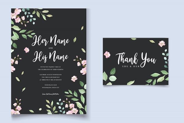 Шаблон свадебной открытки с красивым цветочным венком