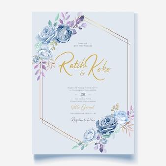 Свадебная открытка с красивым синим цветочным венком