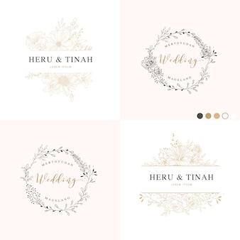 結婚式招待状のための葉と枝のフレーム