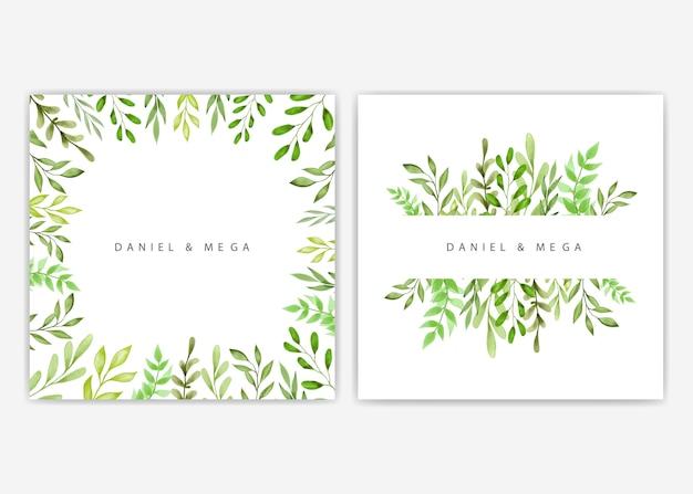 結婚式招待状のための緑の葉と枝のフレーム