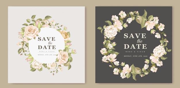 エレガントな花の結婚式の招待カードのテンプレート
